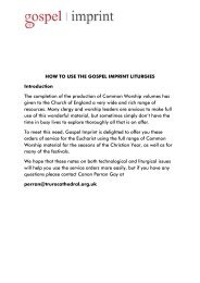 Instructions for Use of liturgies in Worship - Gospel Imprint