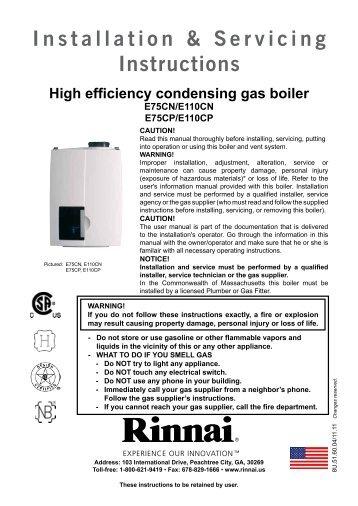 Installation & Servicing Manual - Rinnai