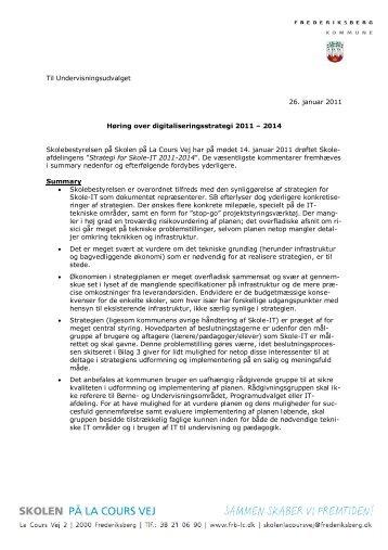 Høringssvar over digitaliseringsstrategi 2011 - Skolen på la Cours Vej