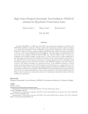 High Order Weighted Essentially Non-Oscillatory WENO-Z schemes ...
