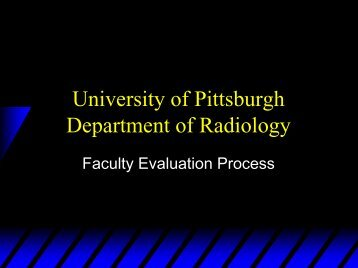 University of Pittsburgh Department of Radiology - AAARAD