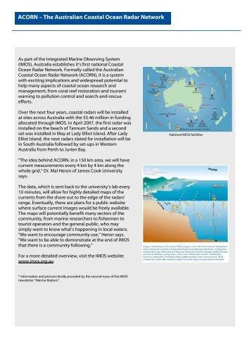 ACORN – The Australian Coastal Ocean Radar Network
