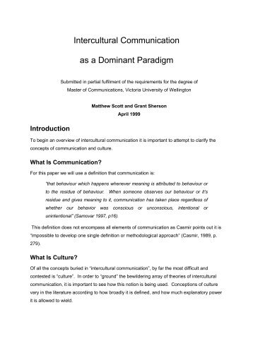 intercultural communication as a dominant paradigm Interculturality from above and below: navigating uneven discourses in a language and intercultural communication with the dominant historical paradigm.