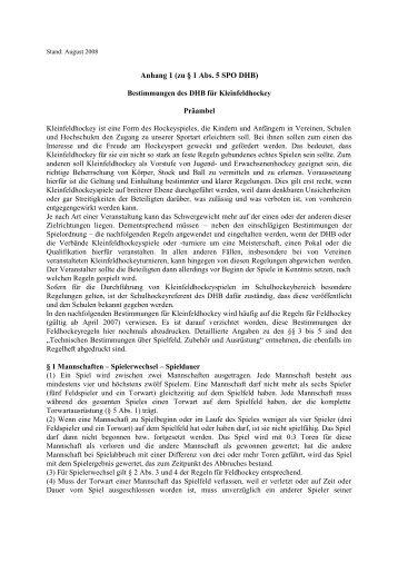 Anhang 1 (zu § 1 Abs. 5 SPO DHB)
