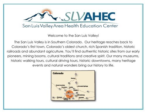 history of the san luis valley - San Luis Valley Area Health Education ...