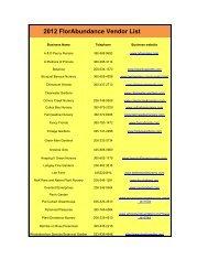 2012 FlorAbundance Vendor List - The Arboretum Foundation