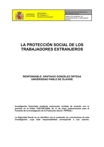 la protección social de los trabajadores extranjeros - Seguridad Social