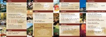 Kulinarischer Kalender 2012 - Hotel Zur Post