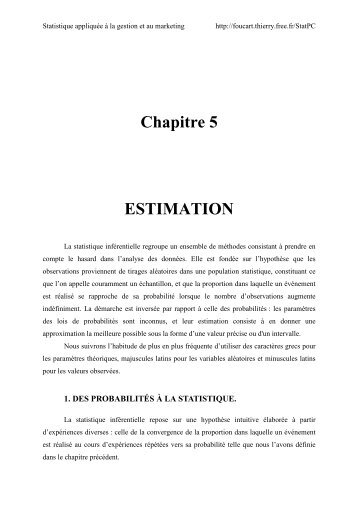 Chapitre 5 ESTIMATION - Méthodes de Statistique Appliquée - Free