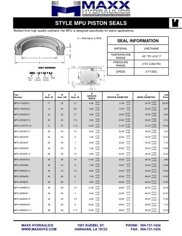 Style MPU PiSton SealS P iS t on U -S eal S