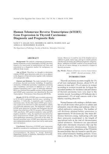 Human Telomerase Reverse Transcriptase (hTERT) Gene ... - NCI
