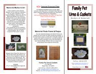 Markers & Memorials - Family Pet Urns and Caskets