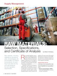 Raw Materials: Selection, Specifications, and Certificate of Analysis