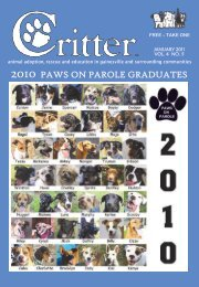 2010 PAWS ON PAROLE GRADUATES - Critter Magazine