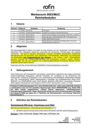 Werksnorm 0003/MUC Reinheitsstufen - Rofin