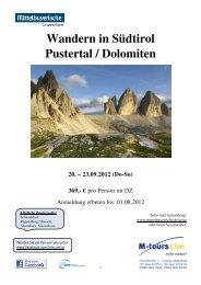 09 20 Reiseprogramm Südtirol Wandern