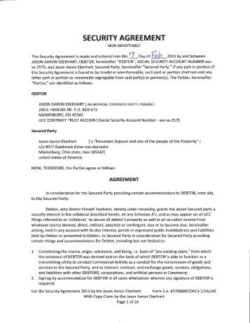 Commercial Security Agreement  National Republic Registry