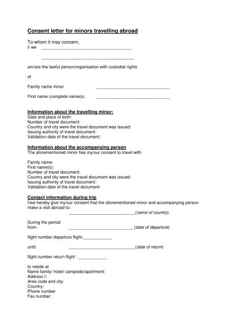 consent letter for minors travelling abroad