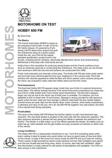 MOTORHOME ON TEST HOBBY 600 FM - Car & Driving