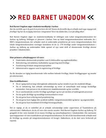 Red Barnet Ungdom søger studentermedhjælp i Aarhus Har du ...