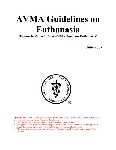 AVMA Guidelines on Euthanasia - aaalac