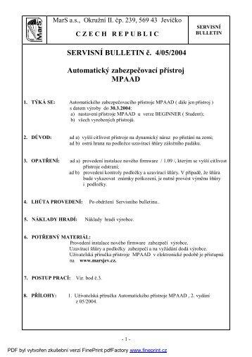 SERVISNÍ BULLETIN č. 4/05/2004 - MarS as