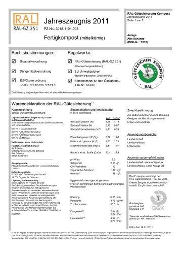 Jahreszeugnis 2011 - Pader Kompost