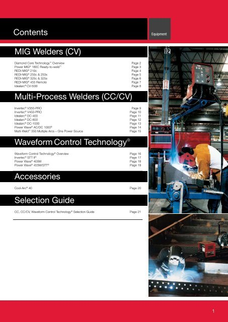 Contents MIG Welders (CV) Multi-Process Welders     - Lincoln Electric
