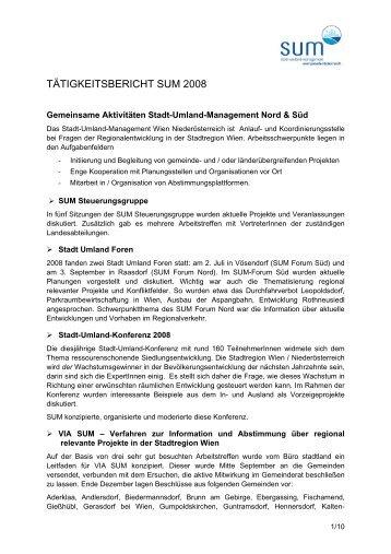 TÄTIGKEITSBERICHT SUM 2008 - Stadt-Umland Management