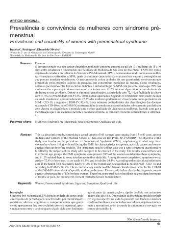 Prevalência e convivência de mulheres com síndrome pré- menstrual