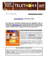 COMMUNIQUÉ DE PRESSE www.telethon.fr : l'événement 2005
