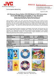 JVC Releases Disney Edition DVD-RW Media for DVD Camcorders.
