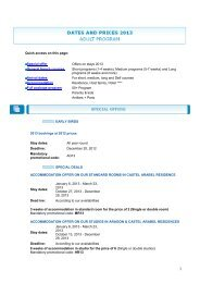 Dates and Price list 2013 - Learn French in France