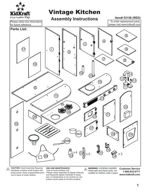 Kidkraft Vintage Play Kitchen Assembly Playkitchens Com
