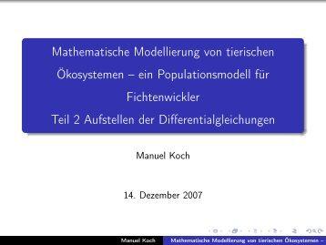 Mathematische Modellierung von tierischen Ökosystemen – ein ...