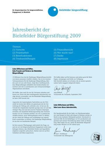 Jahresbericht der Bielefelder Bürgerstiftung 2009