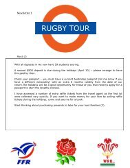 2013 Rugby Tour Newsletters and Itinerary - Ipswich Grammar School