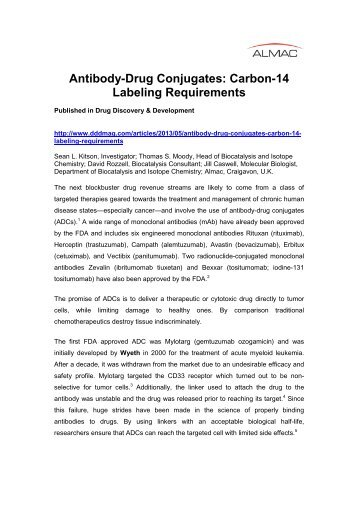 Antibody-Drug Conjugates Carbon-14 Radiolabeling ... - Almac