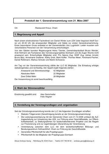 Protokoll Erste Generalversammlung vom 21.3.07 - landschaftcham.ch
