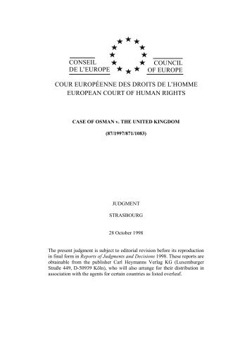 CONSEIL DE L'EUROPE COUNCIL OF EUROPE COUR - UniCEUB