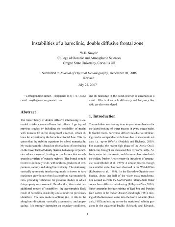 Instabilities of a baroclinic, double diffusive frontal zone - Turbulence ...