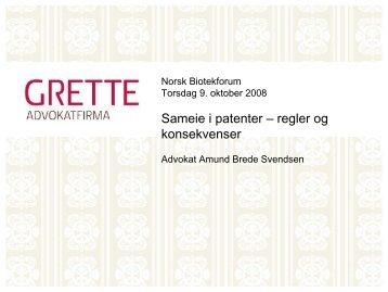 Sameie i patenter - Biotekforum