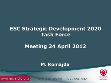 Strategic Task Force update - Cardiovascular Round Table (CRT)