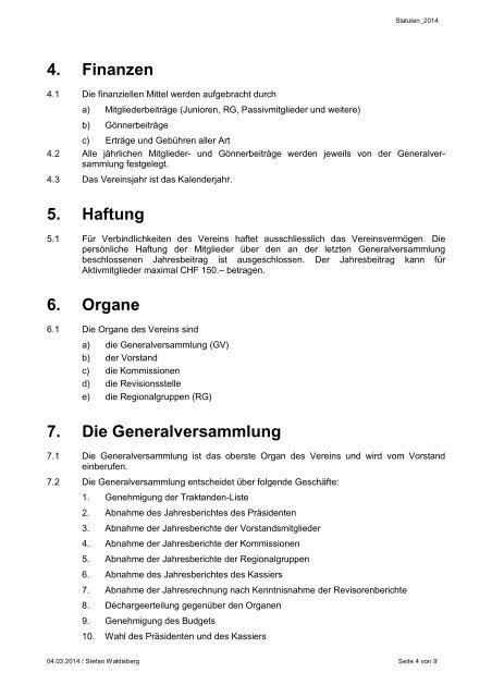 Statuten - bei swissendurance.ch!