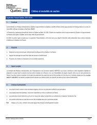 Critères et modalités de soutien - Ministère des Relations ...