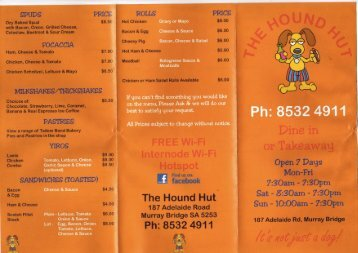 Hound Hut's Menu - Murraylands.com.au