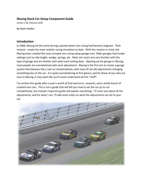 iRacing Stock Car Setup Component Guide - Fine Line Racing