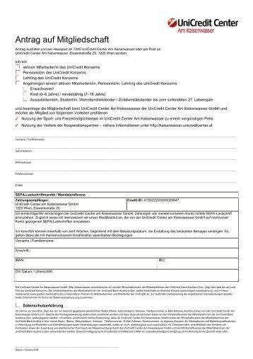 Antragsformular Mitgliedschaft - Bank Austria