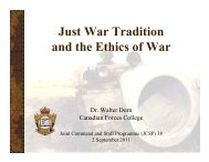 Just War Tradition and the Ethics of War - Dr. Walter Dorn