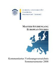 master-studiengang european studies - Faculty of Social and ...